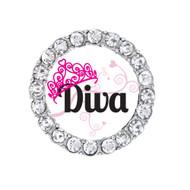 Round Diva Tiara shoelace charm with rhinestones.