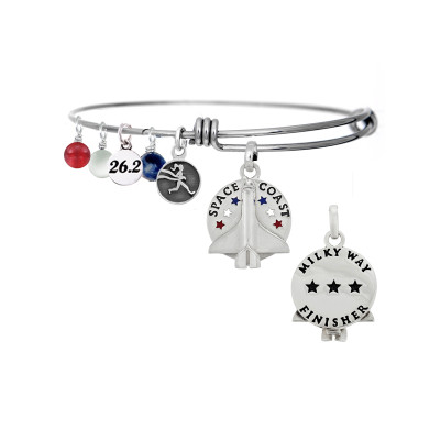 Space Coast Milky Way bangle bracelet with 26.2 mini charm, runner girl mini charm and red, white and blue gemstone drops.