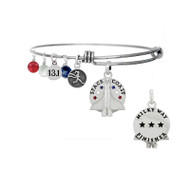 Space Coast Milky Way bangle bracelet with 13.1 mini charm, runner girl mini charm and red, white and blue gemstone drops.