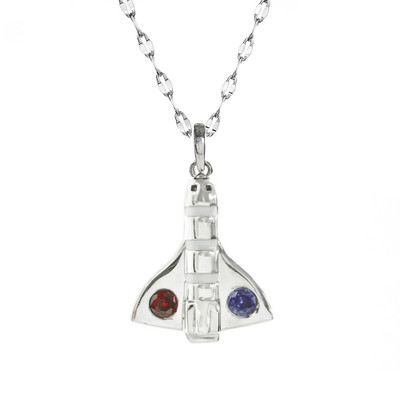 Sterling silver Atlantis shuttle charm with red and blue crystals on shuttle wings on a sterling silver star chain.