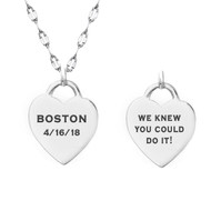 engraved heart necklace boston marathon