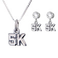 sterling silver cutout 5K necklace with 5K earrings on cubic zirconia posts.