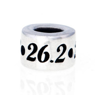 Round Sterling Silver European Style Bead with 26.2 around it.