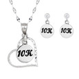 10k charm heart necklace with matching 10K earrings on cubic zirconia ear posts.