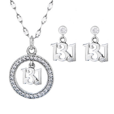 13.1 script charm hanging from a circle of cubic zirconias with matching 13.1 earrings.