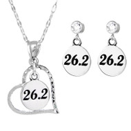 26.2 heart necklace with 26.2 round earrings on cubic zirconia posts.