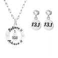 Believe it Achieve it necklace with 13.1 matching earrings.