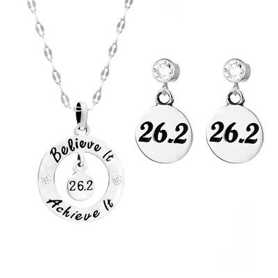 26.2 believe it, achieve it necklace with 26.2 round charms on cubic zirconia stud earrings.