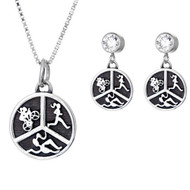 Round Sterling silver Triathlon necklace and matching earring set.