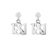 13.1 mini script earring oon cubic zirconia posts.