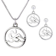 Swimmer Necklace & Cubic Zirconia Post Earrings Set