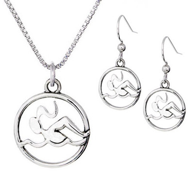 Swimmer Necklace & Hook Dangle Earrings Set