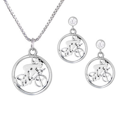 Cycling Jewelry Sets Cycling Necklace Earring Gift Set