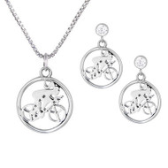 Cycling Girl Necklace & CZ Post Earrings Set