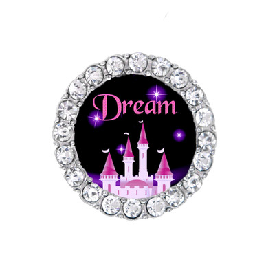 Round black and pink sneaker charm princess castle with rhinestones around the outside.