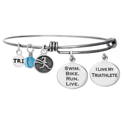 Swim Bike Run Live Bangle Bracelet with Tri mini charm