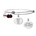Triathlete Mom Bangle Bracelet with pave beads