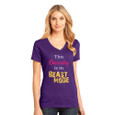 "purple tech v-neck tee with ""This Beauty is in Beast mode"" design."