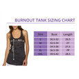 Racer back burnout tank top size chart