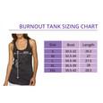 Racer back burnout tank top size chart