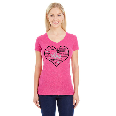 Front view on model of Pink sparkle v-neck t-shirt with heart motivational design.