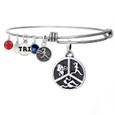 Triathlon Tri Pie charm with Tri girls symbol on an adjustable bangle.