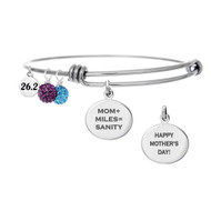 Adjustable bangle bracelets with special message engraved on front and back of charm for Mother's Day 26.2