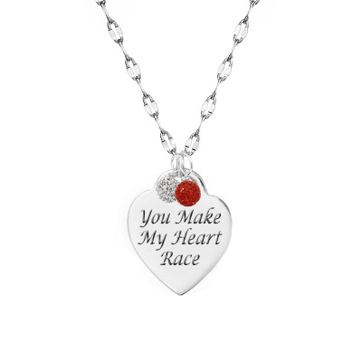 """you make my  heart race"" engraved heart necklace  with 2 gemstones on a sterling silver chain."