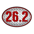26.2 oval car magnet in silver and red