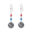 All American Triathlon earrings with red, clear and blue Swarovski crystals.