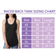 Sizing Chart for the Tri Girls Racer Back Tank.