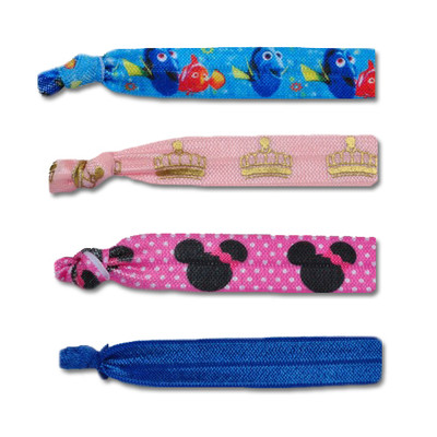 RunDisney elastic hair ties. Nemo, Princess, minnie mouse, and solid blue.