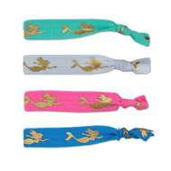 Mermaid elastic hair ties in pink, blue, white and teal.