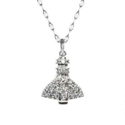 Cubic Zirconia covered sterling silver Space Shuttle on a Star Chain.