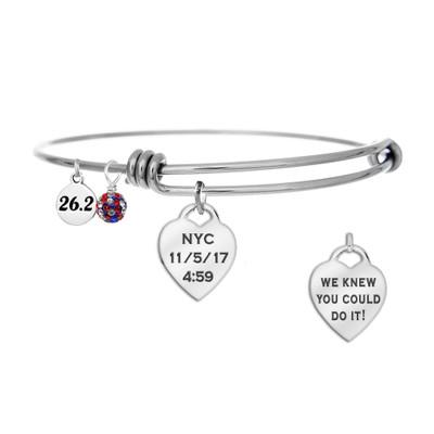 NYC Marathon Runner Custom Engraved Heart Bangle Bracelet