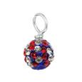 USA patriotic pave round crystal gem drop