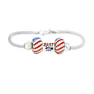 Sterling Silver European Bracelet with 2017 Atlantis Euro bead and 2 red, white and blue USA flag beads.