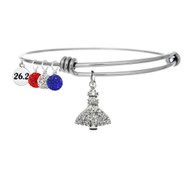 Space Coast Marathon Cubic Zirconia bangle bracelet shown with 26.2 mini charm.