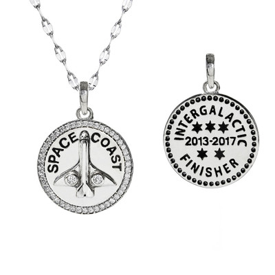 Space Coast Cubic Zirconia Pendant necklace on star chain, with back view