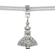 Cubic Zirconia studded space shuttle on a sterling silver charm carrier. Fits Pandora.