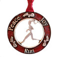 Red Pewter Christmas ornament for runners. Peace, Joy, Run on tree