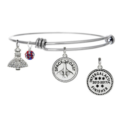 Space Coast Intergalactic finisher bangle bracelet with Cubic Zirconia studded Shuttle & red, white, & blue crystal drop.