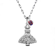 Cubic Zirconia studded Space Shuttle with a USA flag design crystal drop on a sterling silver star chain.