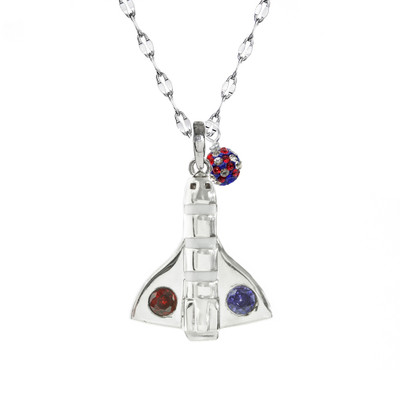 sterling silver space shuttle adorned with a red and blue crystal on star chain with a  red, white, blue crystal drop.
