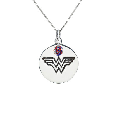Wonder Woman Pendant on a box chain with red white and blue pave crystal bead