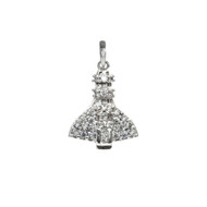 Sterling Silver space Coast Space shuttle charm studded with shiny Cubic Zirconias.