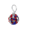 red white and blue pave crystal loose bead