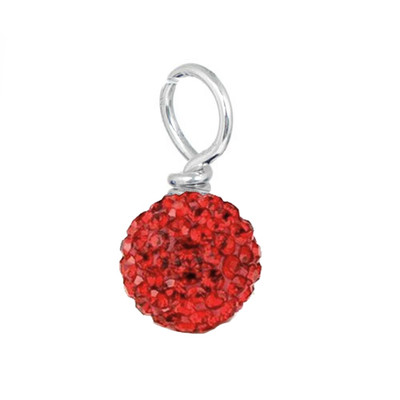 red pave crystal loose bead