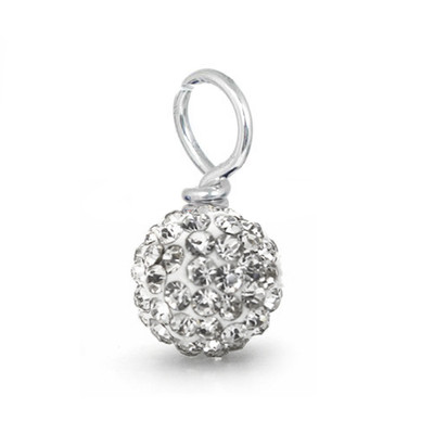 clear white pave crystal loose bead