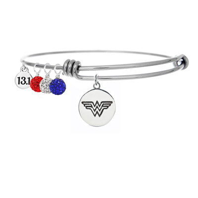 Wonder Woman Adjustable Bangle bracelet with red, clear and blue pave drops addn 13.1 mini charm.
